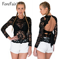 Black Sexy Hollow out Backless Lace Tops Women Long-Sleeve See-Through Slim Bandage Female T Shirt
