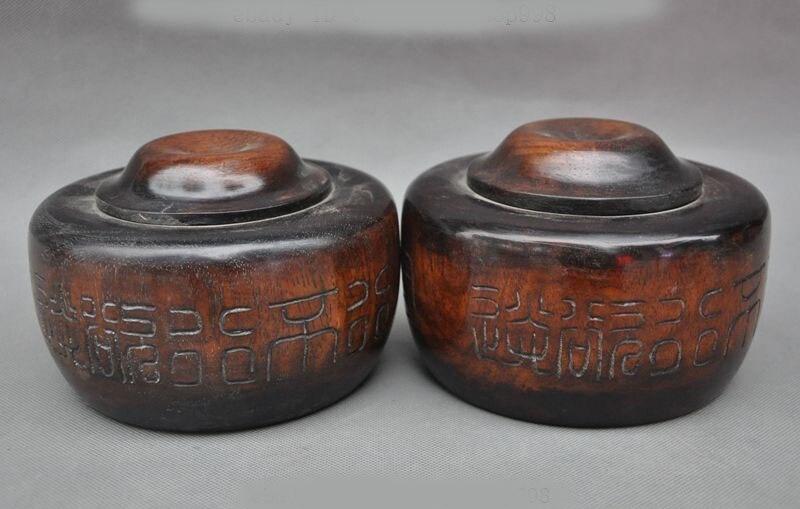 Noël Rare vieille chine Huanghuali bois sculpté à la main jouer jeu d'échecs aller Weiqi boîte pot paire halloween