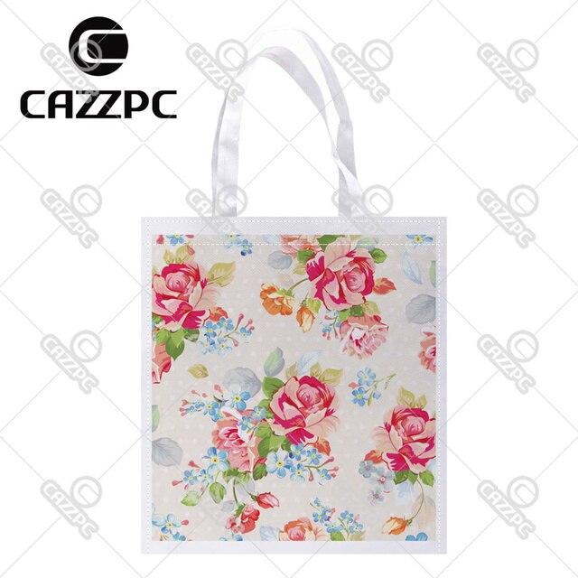 71605418d638e Schöne Wunderschönen Klassischen Blumen Rose Druck Individuelle Leichte  Polyester Stoff Wiederverwendbare Einkaufstüte Pack von 4