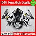 7gift Silver black  For SUZUKI GSXR750 01 02 03 GSXR 600 750 K1 1MC82 Hot silvery GSXR600 R600 GSX R750 2001 2002 2003 Fairing