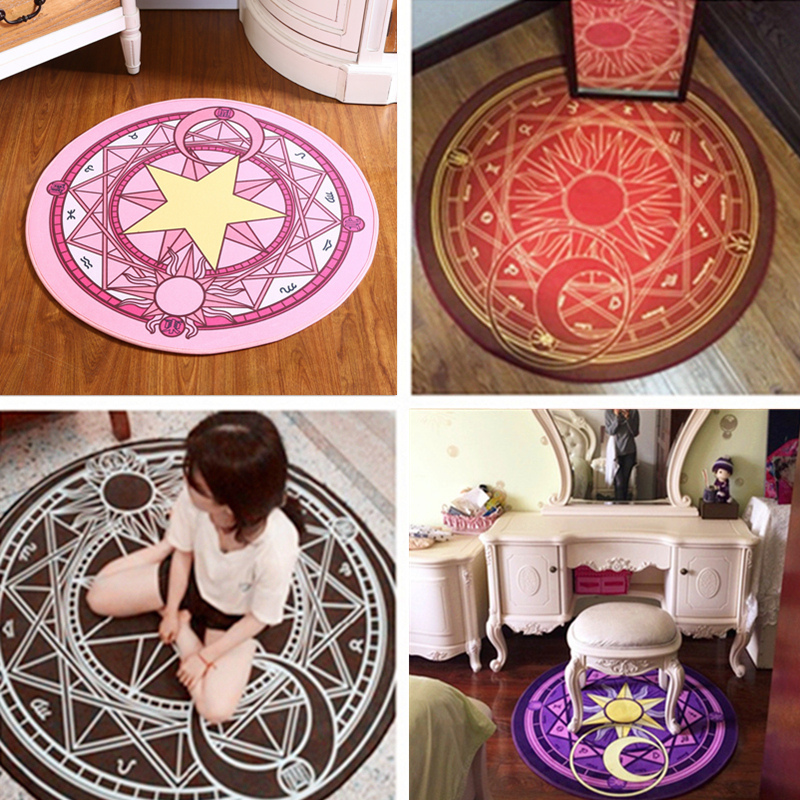 Fashion Baby Cartoon Play Mat Card Captor Sakura Kinomoto Magic Circle Puzzle Mats Children Round Carpet Diameter 60-100cm