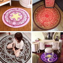 Fashion Baby Cartoon Play Mat Card Captor Sakura Kinomoto Magic Circle Puzzle Mats Children Round Carpet Diameter 60-100cm(China)