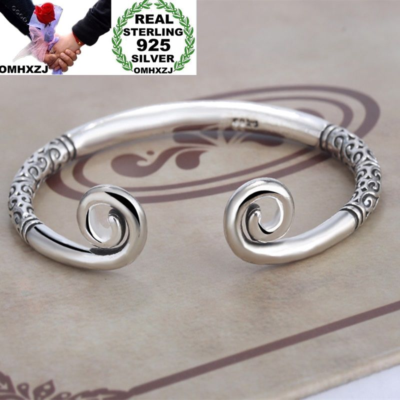 OMHXZJ Wholesale European Fashion Woman Girl Party Wedding Gift Love Cursing Open 925 Sterling Silver Cuff Bangle BA18