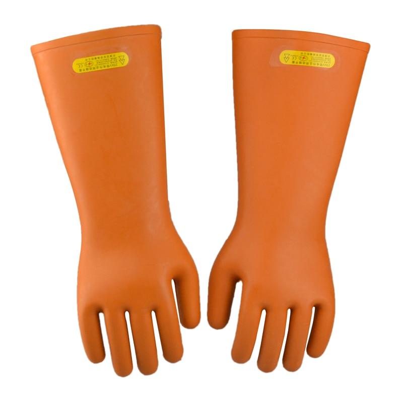 Darmowa wysyłka sprzedawane na gorąco 40 cm wydłużają izolacyjne lateksowe rękawice robocze 25KV zaprojektowane przez linię elektroenergetyczną linii roboczej ochrony pracy