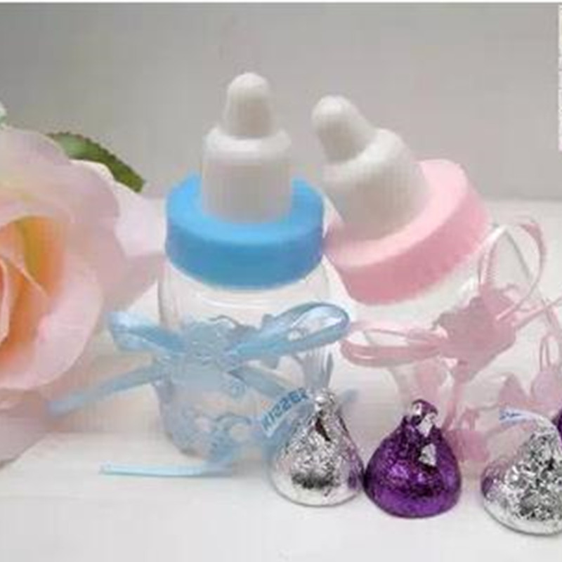 Pink//Blue Baby Bottle Candy Box Baby Wedding Favor Gifts Box Baby Shower Decor