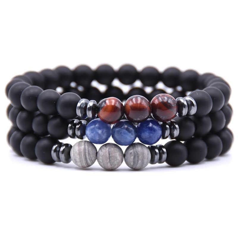 Nouvelles perles de Chakra en pierre de lave noire Bracelet punk essentiel Balance Yoga Pulseira Feminina bouddha bijoux Pulseras livraison directe
