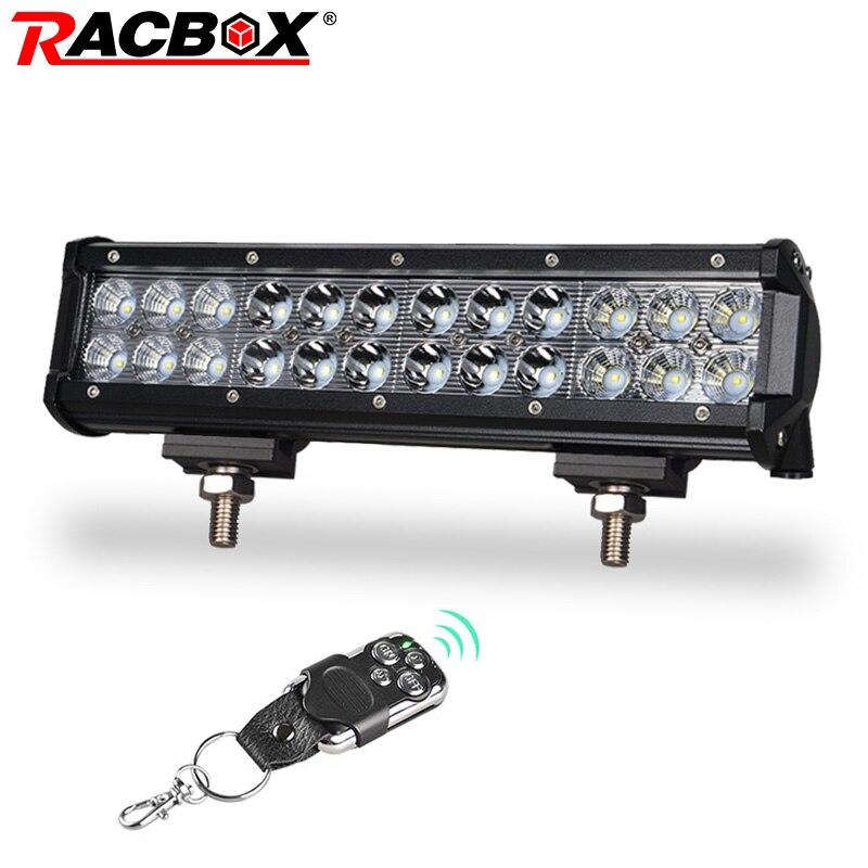 RACBOX 12 inch 72W LED Work Light Bar Lamp Flood Spot 6000K White Slideable Bracket Car