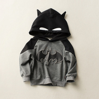 2017 Autumn Baby Boys And Girls Casual Pullover Cartoon Fashion Crop Tops Long Sleeve Batman Hooded