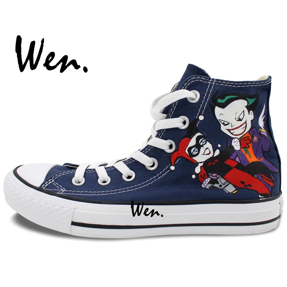 73460b56ed59 Wen zapatos pintados a mano diseño personalizado Joker Harley Quinn dibujos  animados azul oscuro alto hombres mujeres zapatillas de lona en Zapatos de  skate ...