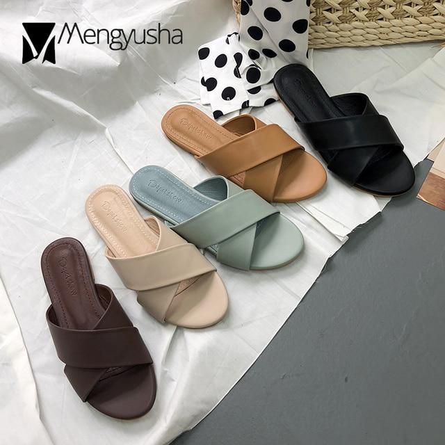 2207450976 Korean brand 2018 cross band flat slippers microfiber sandals mujer street  trend concise cutout beach slides woman flipflops