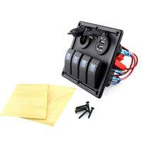 Auto Boot Rocker Switch Panel 4 Gang Schakelaars LED Dual Auto USB Lader Kleurrijke 12 v Voltmeter voor Auto boot Switch Panel