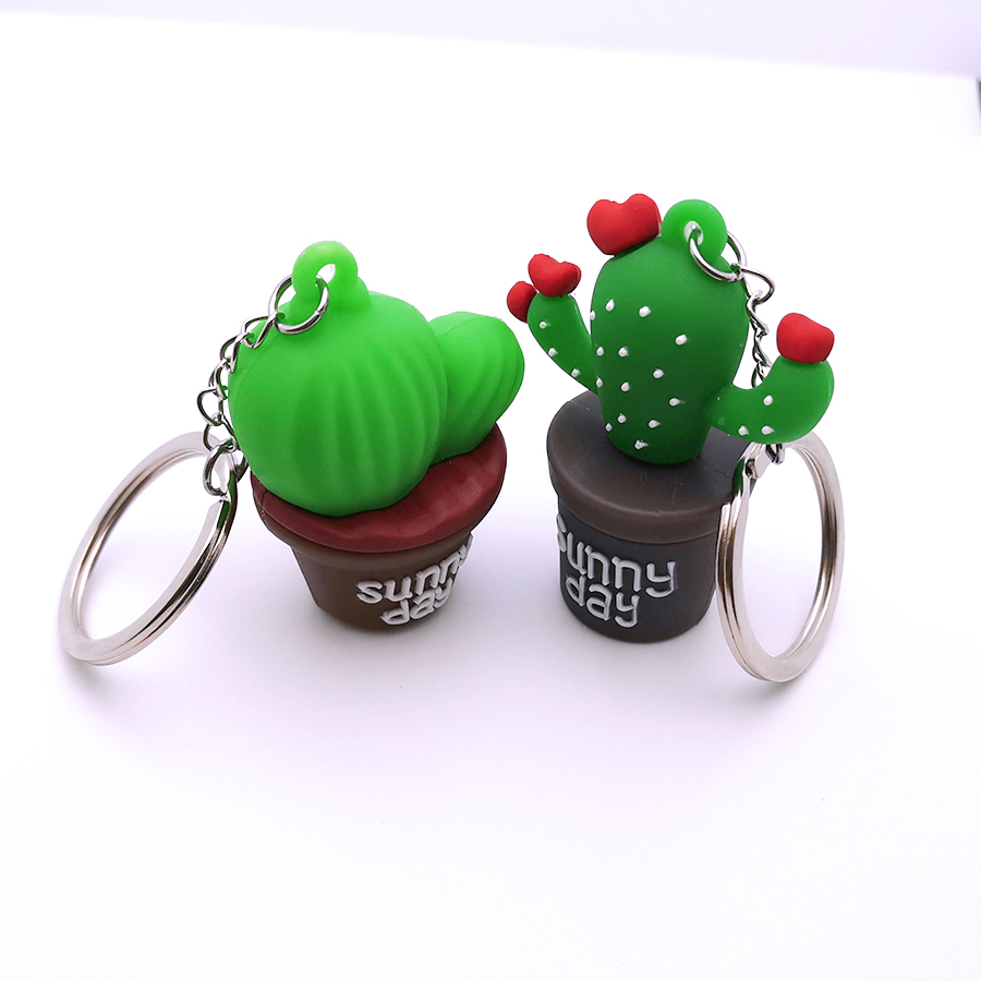 Cartoon Rubber Prickly Pear Keychain Simulation Plant Potted Cactus Keyring Backpack Pendant Couples Women Men Girl Gift Key Fob