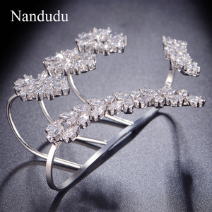 Image 5 - Nandudu Nice Cubic Zirconia Palm Bracelet  White Gold Color Hand Cuff Fashion Bangle Jewelry Women Girl Gift R1116