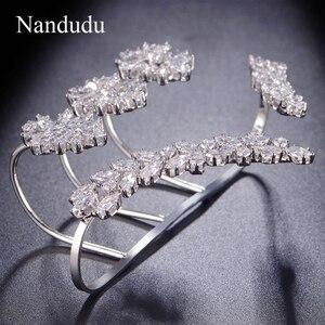 Image 5 - Nandudu נחמד מעוקב Zirconia פאלם צמיד לבן זהב צבע יד שרוול אופנה צמיד תכשיטי נשים ילדה מתנה R1116