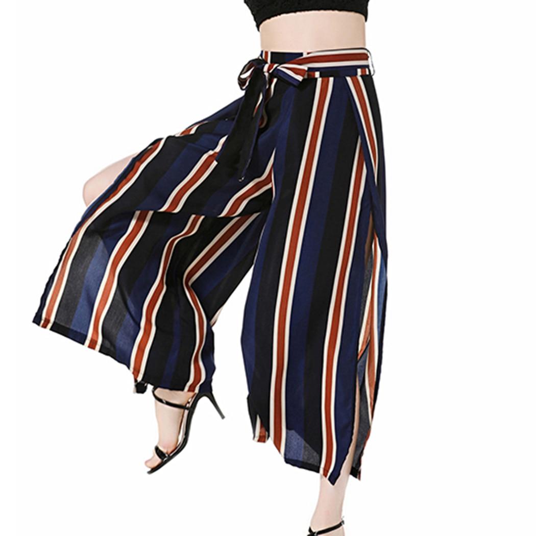 baskets pour pas cher meilleur prix styles classiques Femmes élégantes lâche noeud papillon rayé cloche bas ...