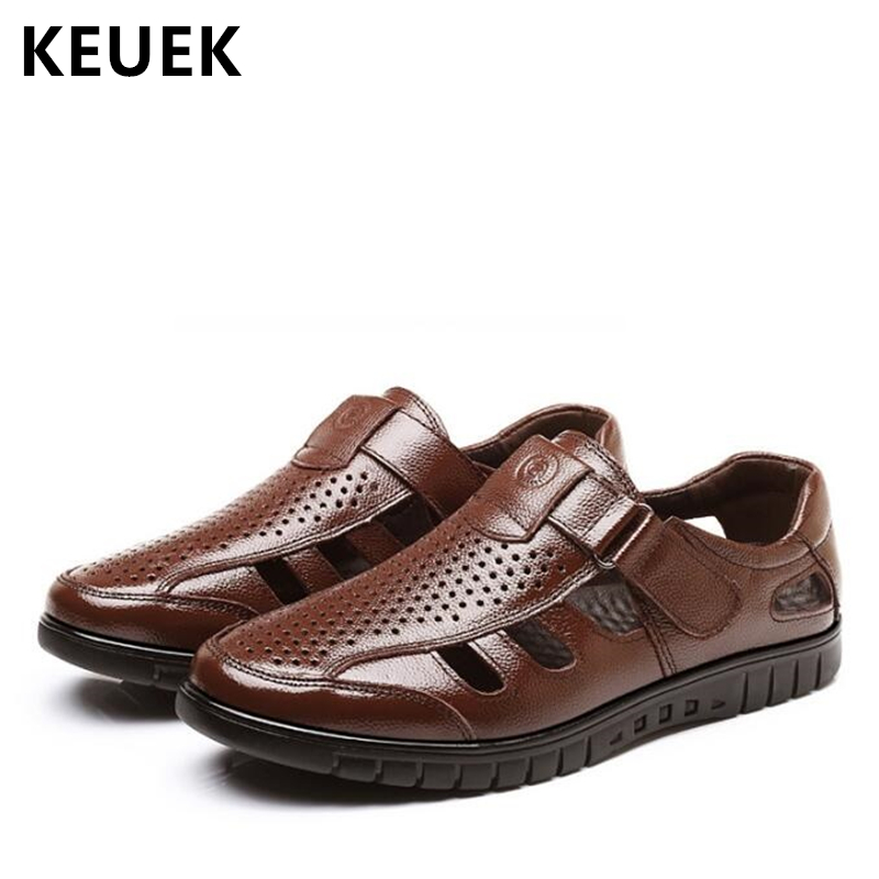 Luxury Classics Summer Shoes Men Sandals Fashion Male Sandalias Beach Shoes Soft Bottom Breathable Leather Sandals Flats 01B