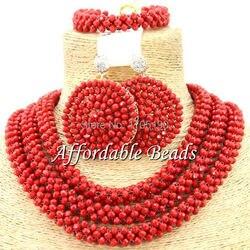 Красный Африканский Свадебный комплект ювелирных изделий, уникальные нигерийские бусы, оптовая продажа, изделие ручной работы BN170