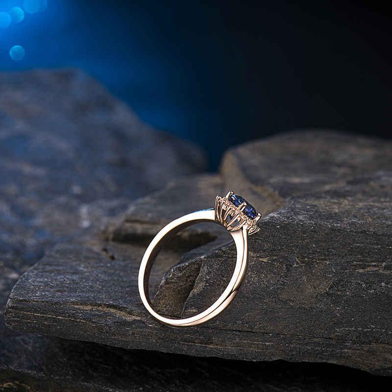 ธรรมชาติ 4x6 มม. และเพชรหมั้นแหวน 750 Solid Rose Gold WU0128