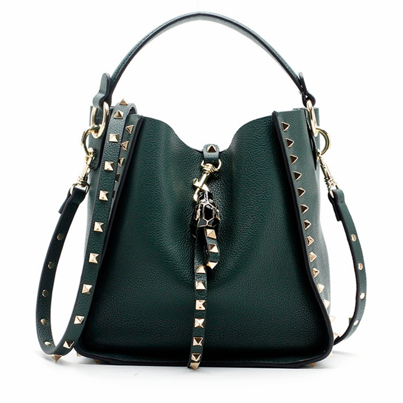 Luxury Women Handbag Genuine Leather Purse and Tote Women Bags Bucket Rivets Designer Crossbody Bags New Design Shoulder Bag women bags 2017 original design vintage top handle genuine leather rivets satchel shoulder crossbody handbag big tote