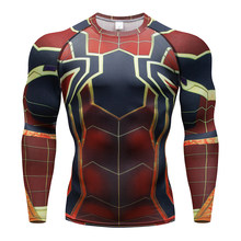 Super hero Fitness MMA Compressie Shirt Mannen Anime Bodybuilding Lange Mouw 3D T-shirt Crossfit Tops Shirts Man Cosplay Kleding(China)