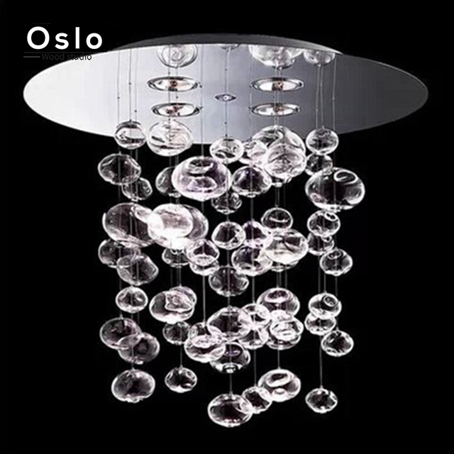 Modern LED Glass Ball Chandelier Bubble Design Livingroom Restaurant Hanging Lamp Bedroom Droplight Hotel Lighting Fixture