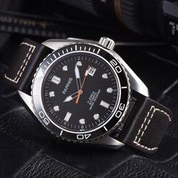 45mm czarna tarcza Parnis Super świecące szafirowe szkło data luksusowa marka Miyota mechanizm automatyczny męski zegarek