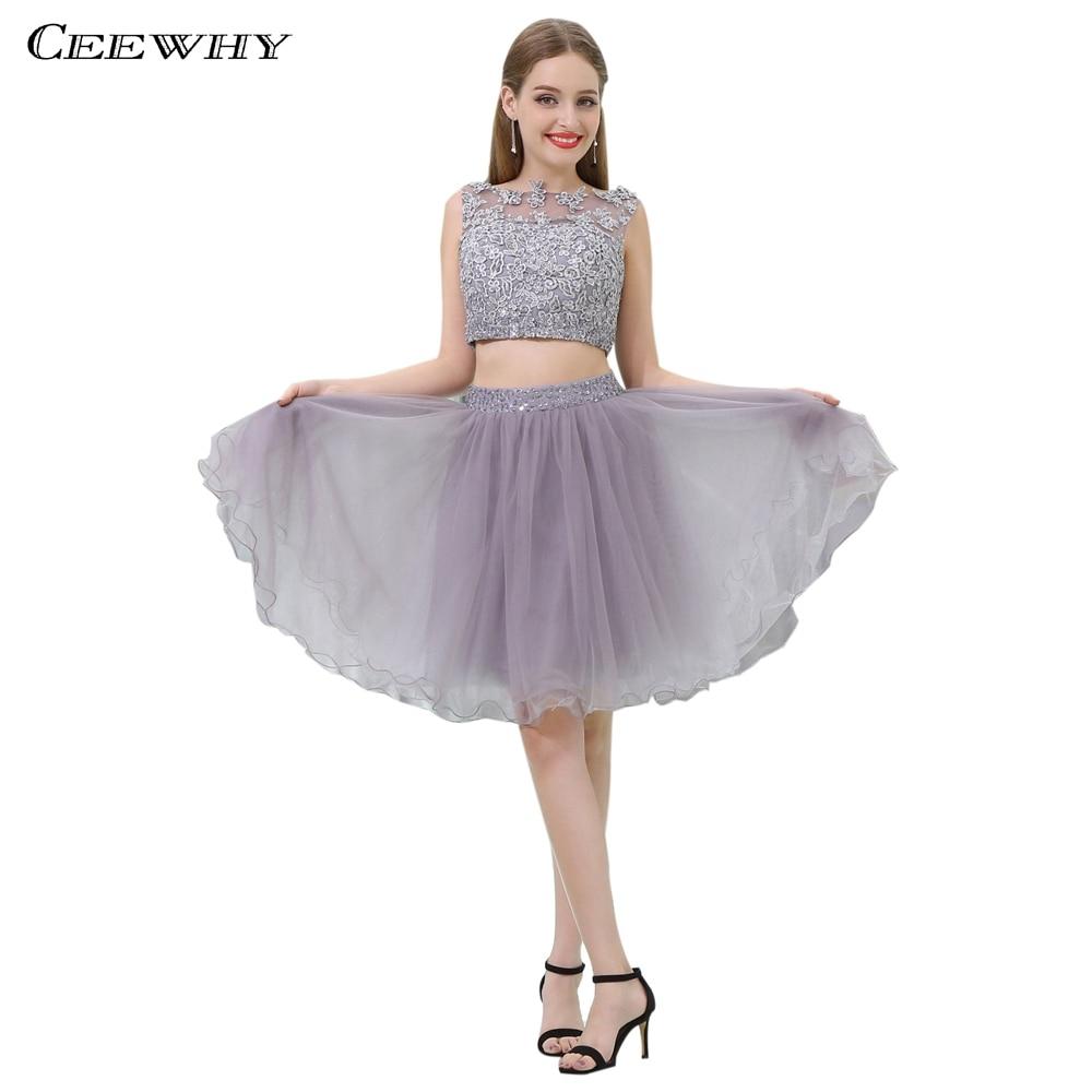 CEEWHY Gray Two Piece Short Prom   Dresses   Knee Length Lace   Cocktail     Dresses   Vestidos de Coctel Graduation Homecoming   Dresses