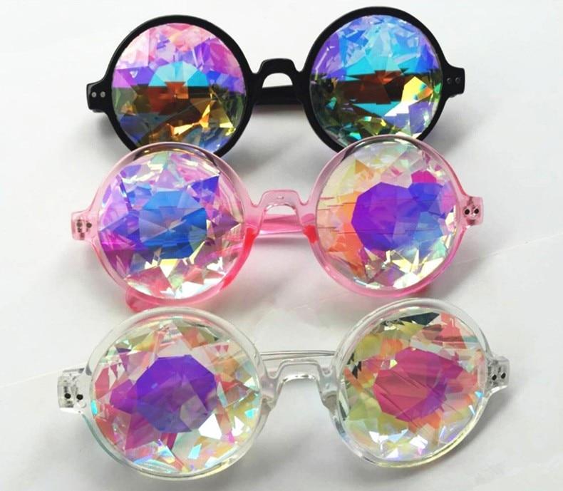 8aec24a037458 Caleidoscópio Mulheres Óculos Redondos Steampunk Óculos Homens Óculos De Sol  2018 Festival Senhoras Passarela Masculina Deslumbrar Diamantes Artificiais  em ...