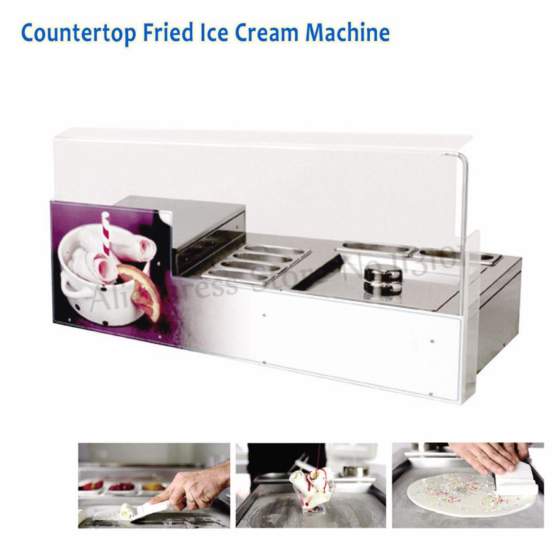 New Style Desktop Fried Ice Cream Machine Square Pan with 6 Pots Ice Cream Roll Maker Commercial ce fried ice cream machine stainless steel fried ice machine single round pan ice pan machine thai ice cream roll machine