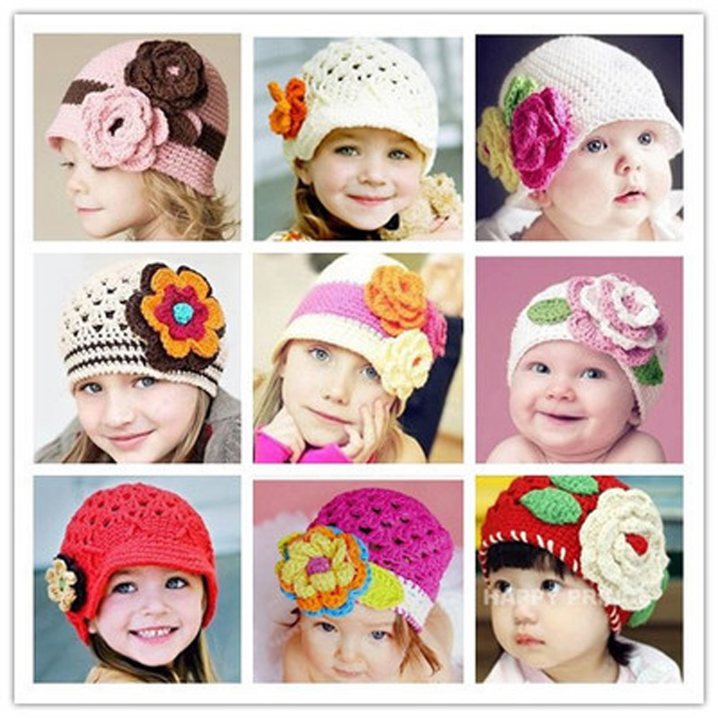 2016 Spring Newborn Hat Baby Lovely flower Handmade Crochet Knitting Cap Cartoon Photography Props knitted hat Beanies Baby cap