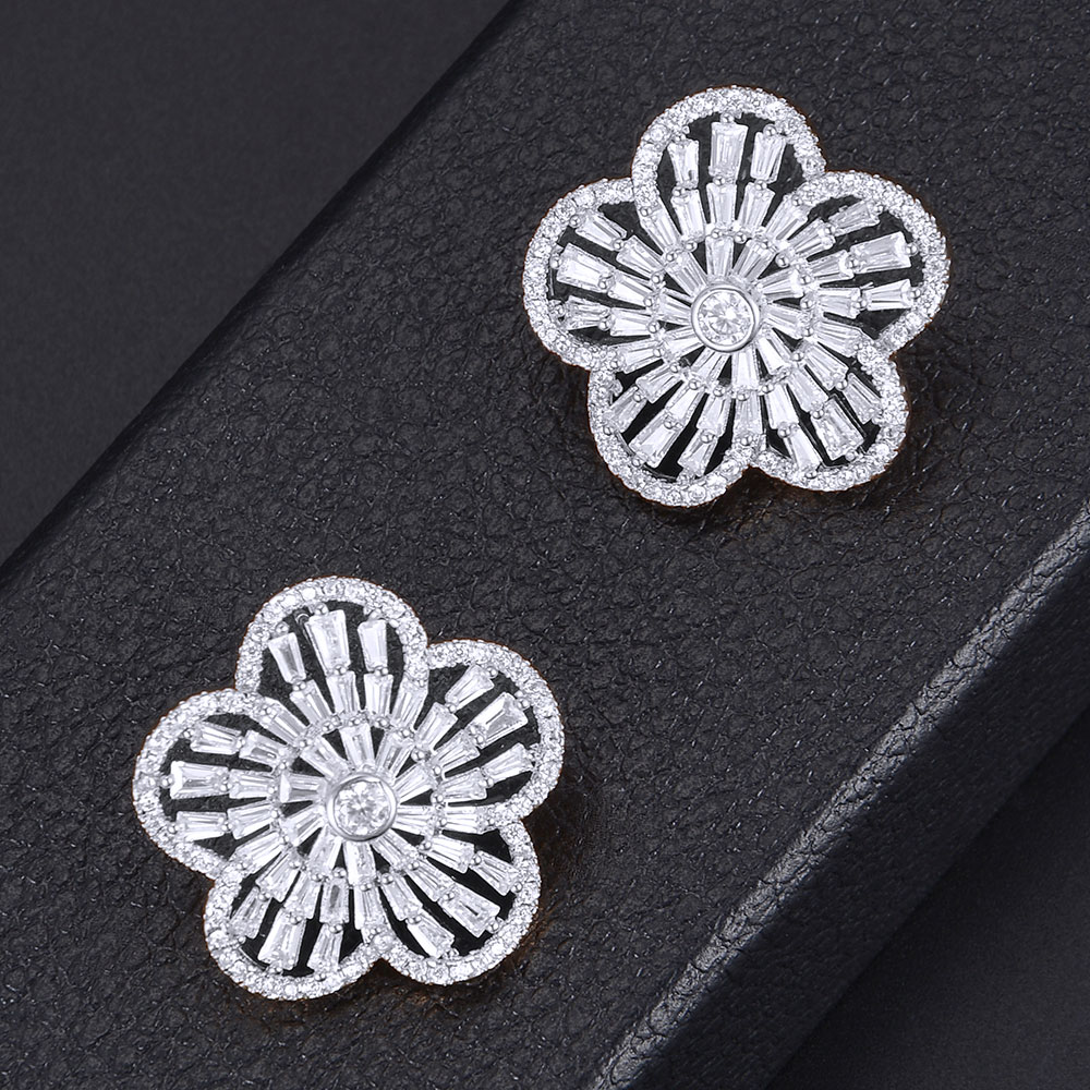 GODKI Luxury Flower Cubic Zirconia Earring For Women Fashion Bridal Wedding Party Jewelry Accessories boucle d'oreille femme2018