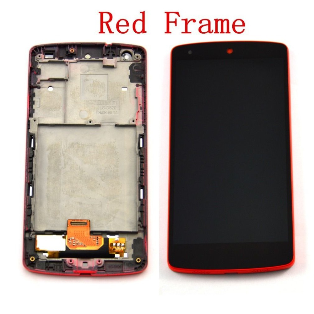 Red Color For LG Google Nexus 5 D820 D821 LCD Display With Touch Screen Digitizer Assembly With Frame+Free Shiping for lg google nexus 5 d820 d821 lcd touch screen digitizer with frame assembly black
