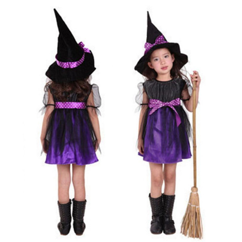 2 Colors New Toddler Kids Baby Girls Halloween Clothes Costume Dress Party Dresses+Hat Outfit Set Hot 2017 drop shipped ST27