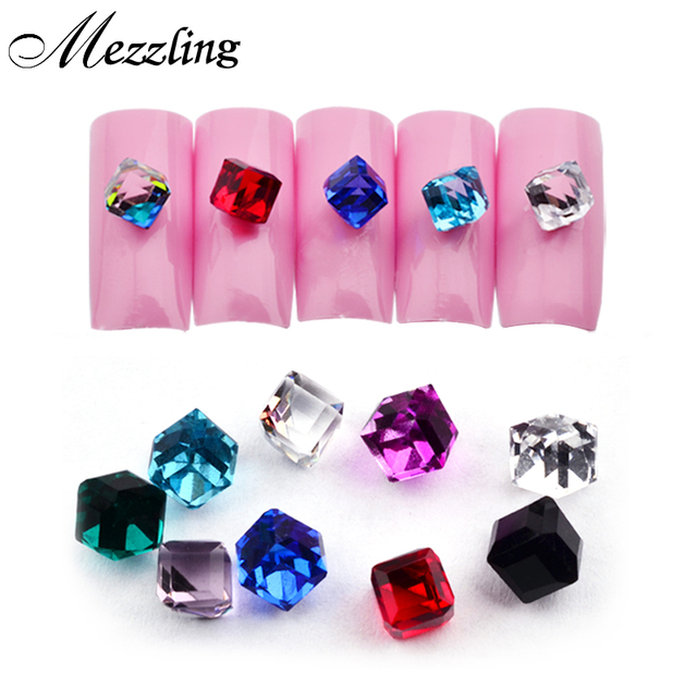 Hot 20pcs Cube Square Design Glass Beads Nail Stones 4mm Glitter Crystal Charm 3D Nail Art Jewelry Nail Tips Decoration