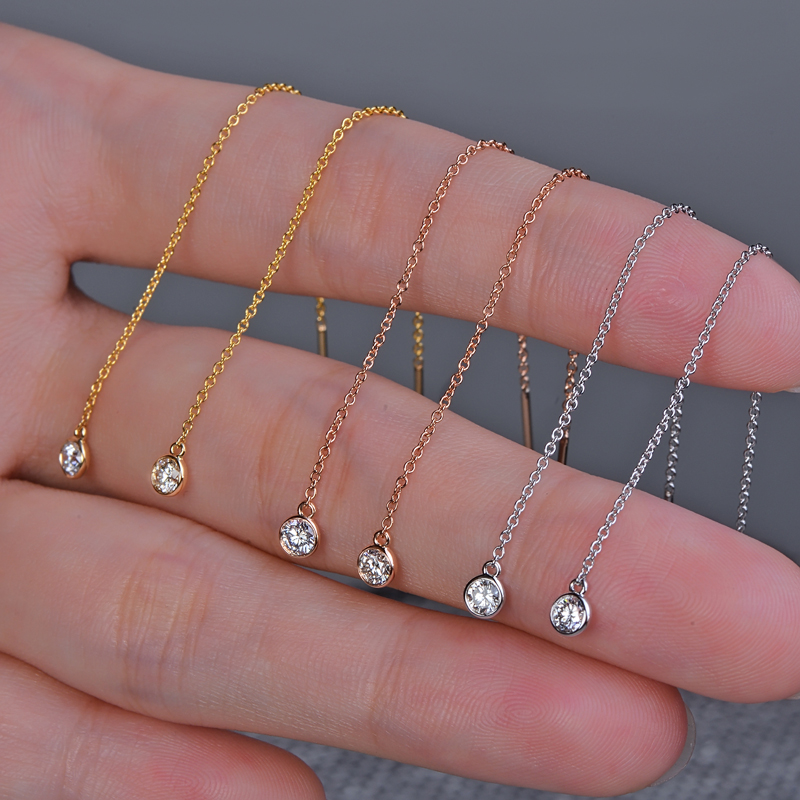 Caimao 18K Gold Natural 0.2ct Brilliant Cut Diamond Engagement Dangle Chain Earrings 80cm Length yoursfs dangle earrings with long chain austria crystal jewelry gift 18k rose gold plated