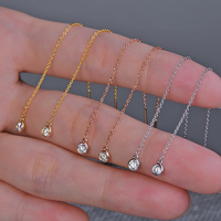 Caimao 18K Gold Natural 0.2ct Brilliant Cut Diamond Engagement Dangle Chain Earrings 80cm Length