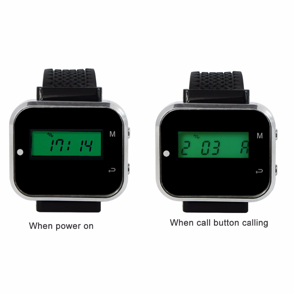 2 pcs Wireless Watch Wrist Receive Call Coaster Pager System For Restaurant Factory Coffee Restaurants Equipments 433MHz F3300A wireless pager system call display wrist watch receiver call transmitter button 433mhz 1 display 1 wrist pager 8 call button