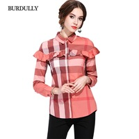BURDULLY Classic Blusas Mujer De Moda 2017 Womens Tops And Blouses Ruffles Summer Fashion Casual Plaid