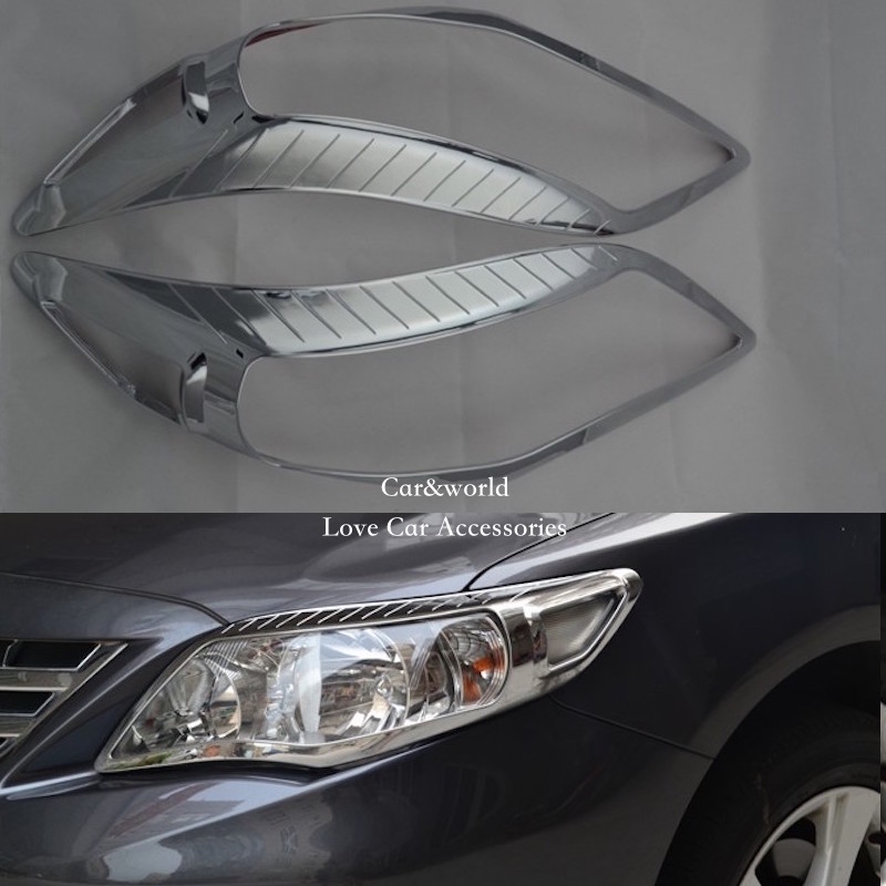 For Toyota Corolla 2011 2012 2013 Front Headlights cover Trim Head Lamp Decoration ABS Chrome Stickers Car-styling Accessories