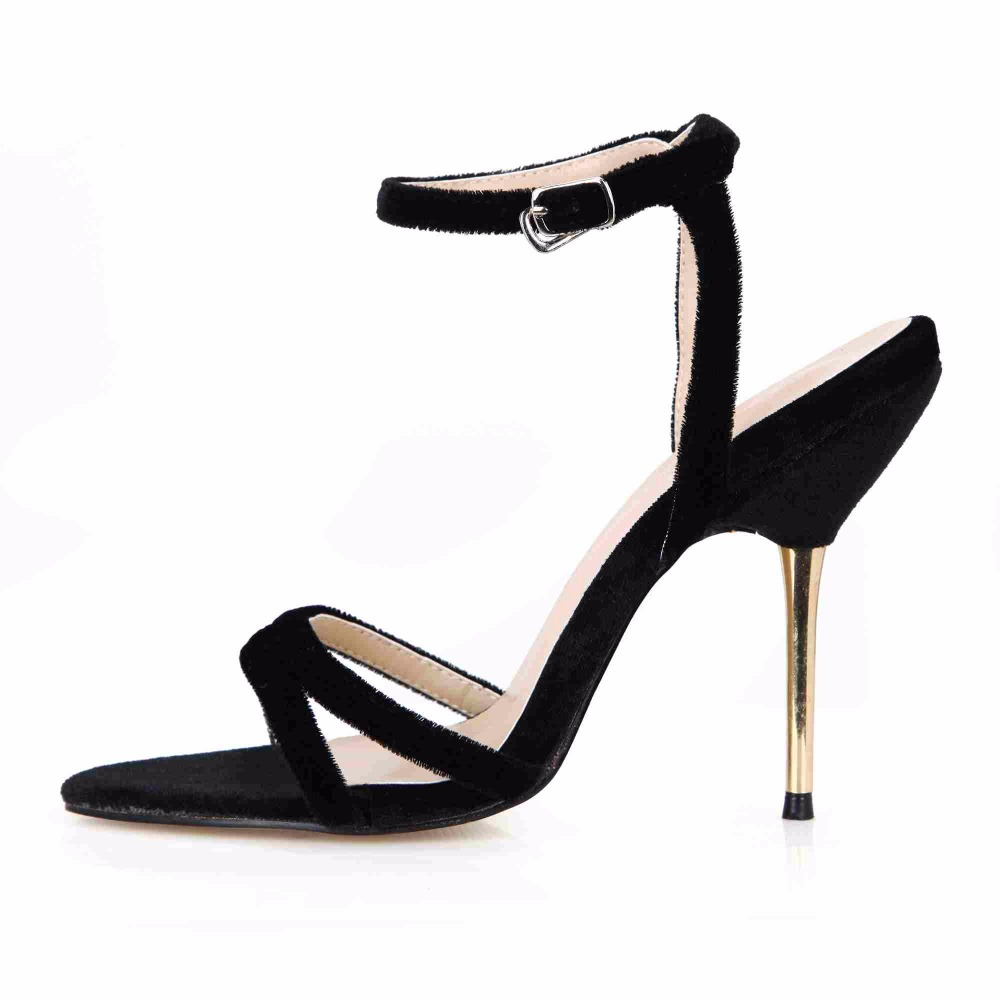 2016 Fashion Summer Hot  Sale European Lady Ankle strap Buckle High Heels Sandals Simple Work OL Beautiful Women Shoes 3845C-3d brand new sale fashion low fretwork heels rhinestone women party shoes elegant sweet ankle buckle strap lady top quality sandals
