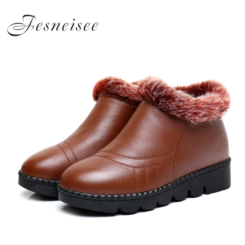 2017 New Women Boots Classic Women Winter Boots Waterproof Genuine Leather Snow Boots Winter Lady's Trend Cotton-padded Shoes 2015 winter new arrival australia classic warm boots genuine leather handmade rhinestones diamond 3d flower women snow boots