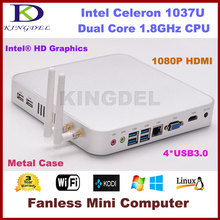Free shipping Intel Celeron 1037U Fanless Thin Client HTPC Desktop Computer 4GB RAM 500GB HDD 080P USB 3.0 HDMI VGA