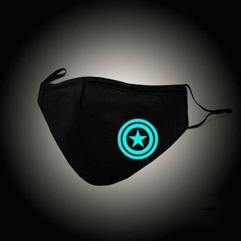 Luminous Usta Maska Kapitan Ameryka Cosplay Bawełna Maska Anti PM2.5 Filtr Przeciwpyłowy Zima Protector Mufy Zaworem Respirator