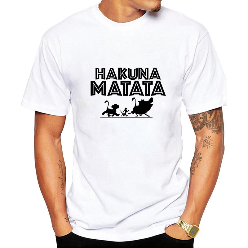 Showtly   HAKUNA MATATA Men Clothes 2019 Movie Lion King Simba Best Friend Harajuku Kawaii Gothic Streetweart Plus Size T Shirt
