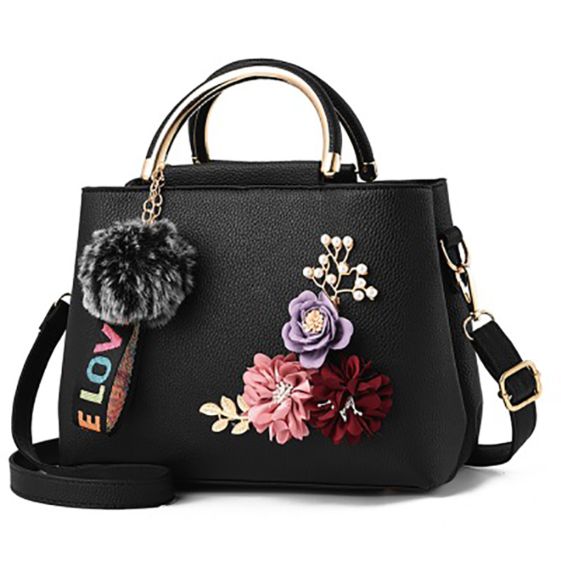 Solid color bag 2018 new shoulder bags Three dimensional embroidery flower package Iron handle PU handbags Fashion messenger bag in Shoulder Bags from Luggage Bags