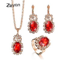 Фотография Zeyan Women Bridal Jewelry Set Wedding Accessories Plated Necklace/Earrings/Rings Sets bijoux femme Party Gift