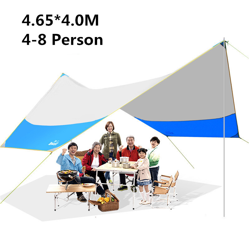 Hewolf Camping Sun Shelter Beach Sunshde Tent 4.65*4.0M Large Ultralight Family Camping Shelter Awning Canopy samcamel 3 4 person large family tent camping tent sun shelter gazebo beach tent tente camping awning advertising exhibition