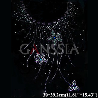 6pcs/lot Fashion hotfix rhinestone for sweater neckline heat transfer design iron on motifs patches Rhinestone applique(ss-1477)