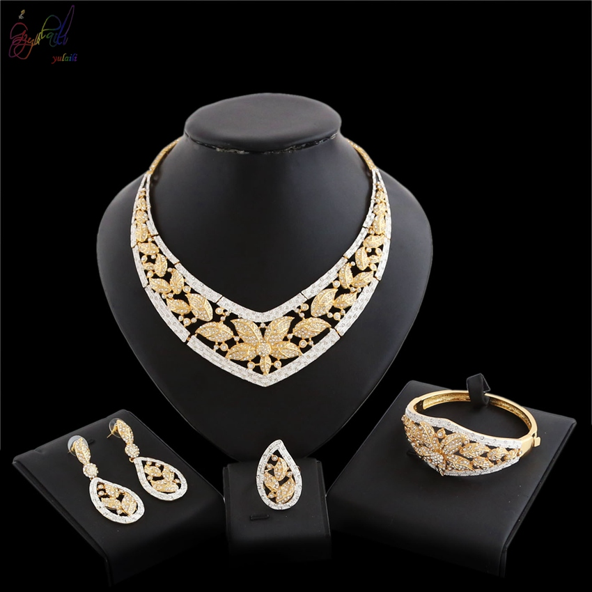 YULAILI 2018 New Fashion Flower Design Pure Gold Color Jewelry Set Exquisite Nigerian Wedding Bridal Bijoux yulaili new coming pure yellow flower bridal wedding jewelry set nigerian ladies party wedding accessories
