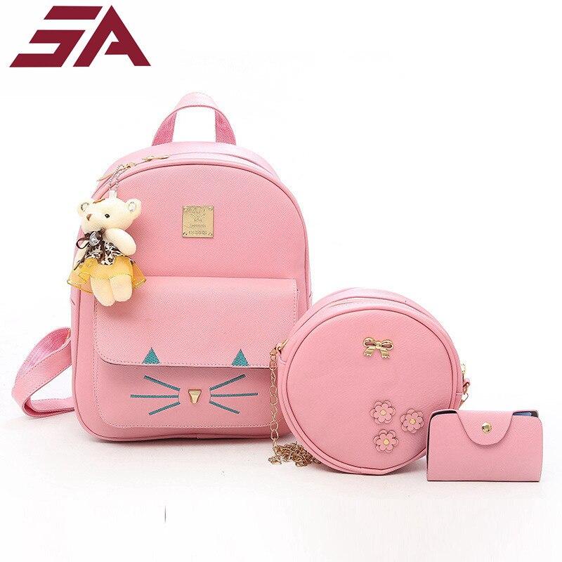 acd98ec926 Μόδα Σύνθετη τσάντα Pu Δερμάτινη σακίδιο Γυναίκες Χαριτωμένο 3 Σετ ...